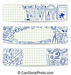 doodles, école, scientifique, bannières