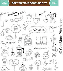 doodles, コーヒー, ベクトル, 要素