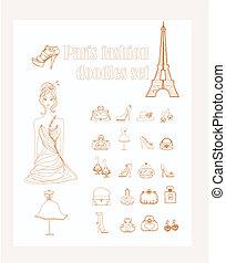 doodles, セット, パリ, ファッション