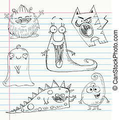 doodles, セット, モンスター