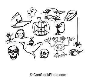 doodles, ハロウィーン, イラスト, セット, ベクトル