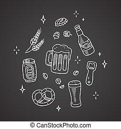 doodles, ビール, チョーク