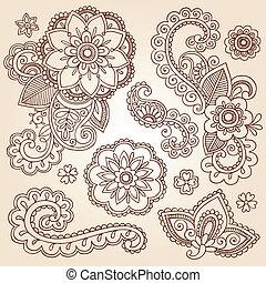 doodles, ペイズリー織, henna, 花, mehndi