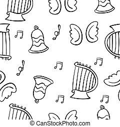 doodles, 主題, ベクトル, 音楽, イラスト