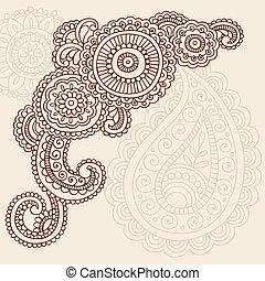 doodles, 佩兹利涡旋纹花呢, 矢量, 指甲花, mehndi