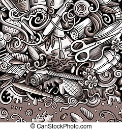 doodles, 引かれる, 釘, illustration., フレーム, カード, マニキュア, 手, 大広間