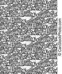 doodles, 郊區, 樹, 黑色, 領域, seamless, 圖案, 房子, 白色