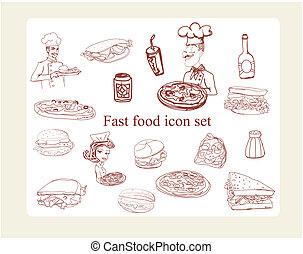 doodles, 食物, セット, アイコン