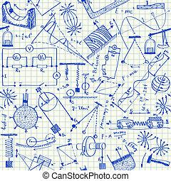 doodles, 물리학, seamless, 패턴