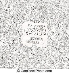 Doodles abstract decorative Easter vector frame