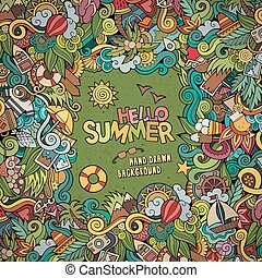 Doodles abstract decorative summer vector frame. greeting...