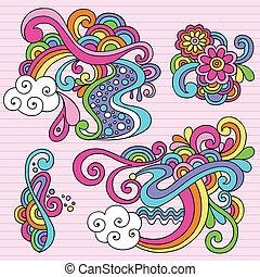 doodles, abstrakcyjny, wektor, psychodeliczny