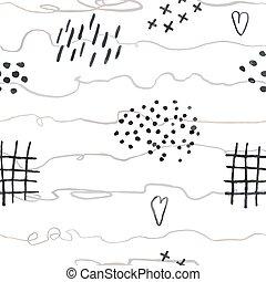 doodles, abstrakt, hand, seamless, fodrar, oavgjord, mönster