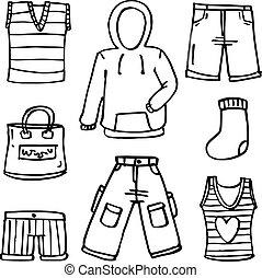 doodles, accessoirs, sammlung, kleidung