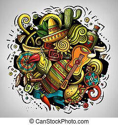 doodles, américa, latín, caricatura, ilustración