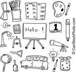 doodles, arte, vector, educación, icono