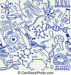 doodles, biologi, seamless, mönster