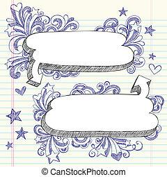 doodles, bolhas, fala, sketchy
