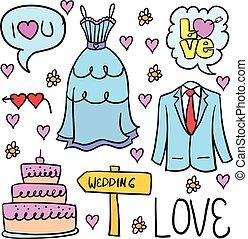 doodles, bryllup, element, samling, stok