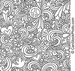 doodles, caderno, seamless, padrão
