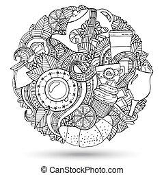 doodles, café, vecteur, hand-drawn, illustration.