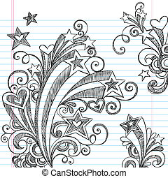doodles, cahier, starburst, sketchy