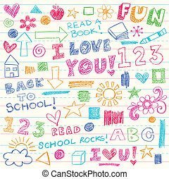 doodles, carboncillos, vector, conjunto, niños