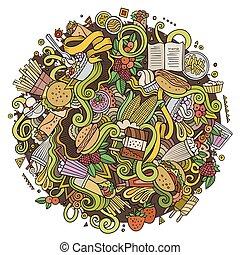 doodles, carino, mano, cartone animato, disegnato, fastfood, illustrazione