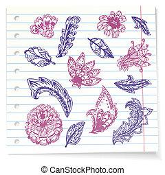 doodles, carta, quaderno