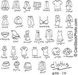 doodles, conjunto, dibujado, paños, mano