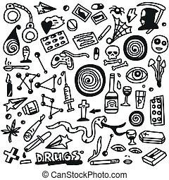 doodles, conjunto, drugs-
