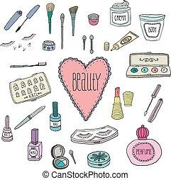 doodles, cosméticos, belleza, iconos