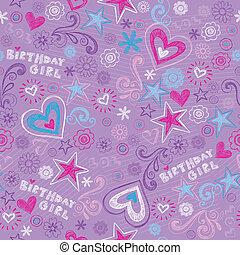 doodles, cumpleaños, seamless, patrón