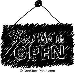 doodles, de, palavra, 'yes, we're, open'
