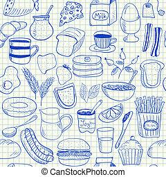 doodles, desayuno, seamless, patrón