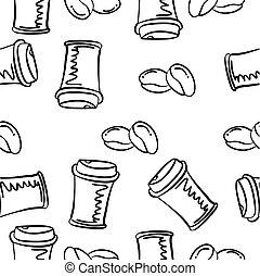 doodles, desenhar, café, mão