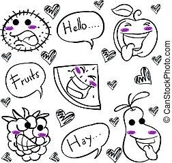 doodles, desenhar, fruta, mão