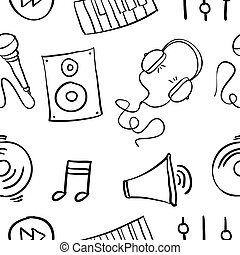 doodles, desenhar, música, mão