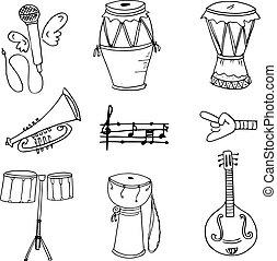 doodles, desenhar, objeto, música, mão