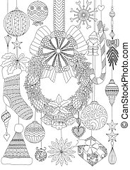 Doodles design of Christmas accessories for adult coloring and Christmas card