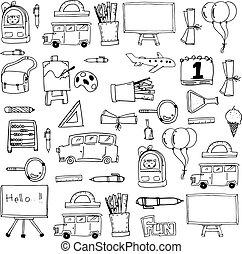 doodles, dessiner, école, fond, main