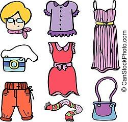 doodles, donne, moda, bellezza, oggetto
