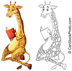 Doodles drafting animal for giraffe reading book ...