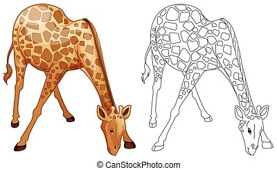 Doodles drafting animal for wild giraffe illustration