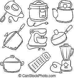 doodles, ensemble, collection, cuisine