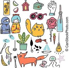 doodles, ensemble, divers, mignon