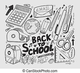 doodles, escola, -, cobrança