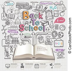 doodles, escola, costas, icons., idéia
