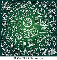 doodles, escola, educação, -, jogo