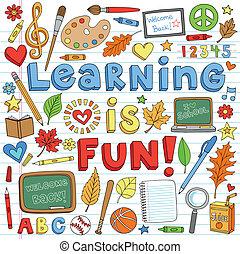 doodles, escola, jogo, costas, aprendizagem